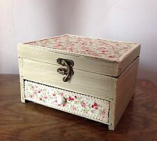 Shabby chic floral wooden jewellery / trinket box NEW