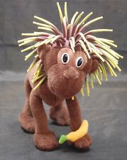 "Brown Monkey Poseable Banana Rubber String Hair Plush 7"" Cascade Toy 2006"