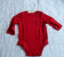 Red Basic One piece, 3-6 months, snap bottom, pocket, long sleeve
