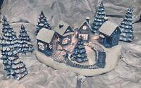 """VTG CERAMIC CHRISTMAS VILLAGE""""5 LITE SERIES""""BASE,4 BUILDINGS,6 TREES(4 LIGHTED)"""