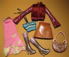 My Scene Barbie CLOTHES FASHION OUTFIT SHOES-faux leather skirt/jacket boots set