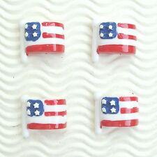 "US SELLER - 10 pc x 1"" USA/America July 4th Flag Patriotic Resin Flatbacks SB624"