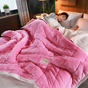 Quilted Flannel Blanket Queen King Soft Reversible Sherpa Warm Bed Cover Sheet