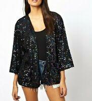 MOTEL ROCKS Black Sequin Kimono Jacket  (MR107.1)