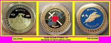 2 x Greek Megisti Kastellorizo Medallions (DOLPHINS+ISLAND) Gold Plated+CofA Inc