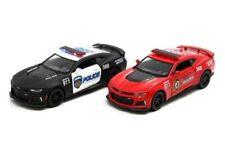 "2PC SET 5"" Kinsmart 2017 Chevrolet Camaro ZL1 Police/Fire Diecast 1:38 Chevy"