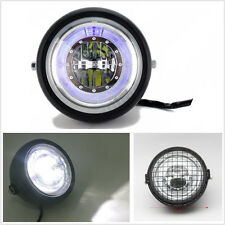 "Super Bright 6.5"" Retro Motorbike Angle Eye LED Headlight Grill Side Mount Cover"