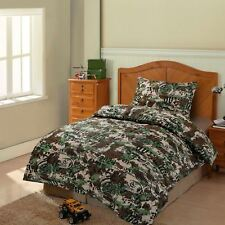 Boys Girls Teens Woodland Camo Army Green Camouflage Single Bed Duvet Cover Set