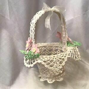 White Basket Handmade Crocheted Cotton Thread With Silk Ribbon Flower Girl