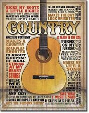 Country Guitar TIN SIGN metal quote poster music western bar wall art decor 2030