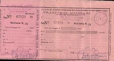 RARO BIGLIETTO FERROVIARIO MILITARE DIV. FANTERIA MESSINA - P.M. 91 C5-144