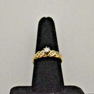 14k yellow gold diamond engagement ring.  Size 8