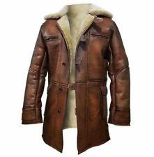 Giacca in pelle da uomo marrone invecchiato Bomber Tom Hardy Bane Coat Aviator