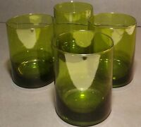 Set of 4 Vintage Hand Blown Emerald Green Glass Tumblers