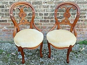 Civil War Era Victorian Antique rosewood carved chairs matching pair Beautiful!