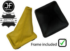 YELLOW TOP GRAIN  LEATHER GEAR BOOT + PLASTIC FRAME FOR VW GOLF MK1 RABBIT JETTA