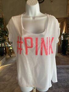 Victorias Secret Pink Sequin #PINK T Shirt Large #M08