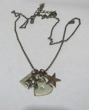 Great silver tone metal chain necklace various charms pendants heart stars S L
