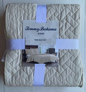 Tommy Bahama Raffia Stitch Solid Cotton 2-Piece Twin Quilt Set in Dune