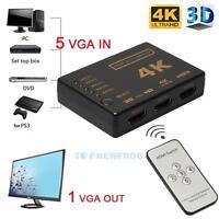 1 In 5 Out 4K HDMI Splitter Verteiler 1x5 Fach 1080p Full HD für 3D HDTV PC