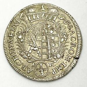 Germany Saxony 1696 IK 1/3 Thaler Silver Coin XF KM# 652 Beautiful