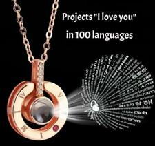 I Love You 100 Languages Rose Gold Pendant Women Necklace Love's Memorial Gifts