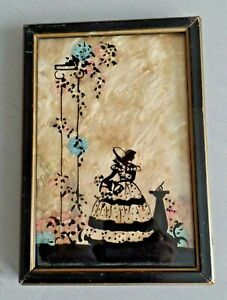 Vtg Reverse Silhouette Painting on Glass Picture Victorian Lady w/ Sundial