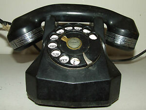 Vintage Automatic Electric Rotary Dial Black Bakelite Monophone Telephone Phone