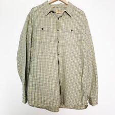 Tre Vero Linen Blend Green Gingham Button Up Shirt Men's Size XXL