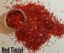 Nail glitter  RED HOLOGRAPHIC TINSEL 3g bag for acrylic / gel