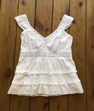 INC International Concepts size 12 white floral open embroidered ruffle tank top