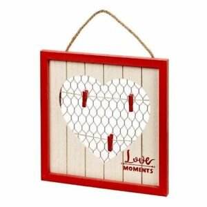 """Boxed Heart Clothespin Frame Display Pictures of Loved Ones approx. 5"""" Choose 1"""
