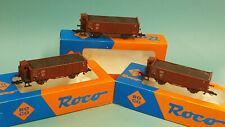 Roco 3x 46280 offener Güterwagen Om + Bh der DR Ep.II + Kohleladung /TOP+OVP
