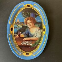 Vintage Coca Cola Tray 6 inches Oval Lady Blue Gold Tip Tray Advertising #N1
