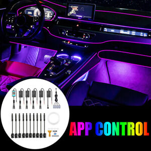 6m Car Interior Ambient Light RGB LED Strip Bluetooth Phone APP 14in1 For BMW