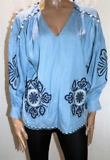 MADISON SQUARE Brand Blue Embroider Long Sleeve Oversize Blouse Sz 8 BNWT #TT82