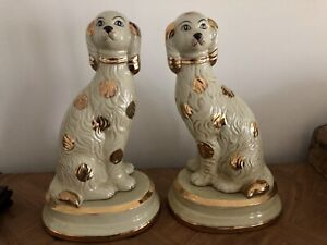 """Staffordshire Large Dog Pair In Antique Cream With Gold Dot Accent 14"""" RARE"""