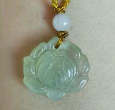 natural jade lotus flower jade pendant necklace lucky love gift good luck