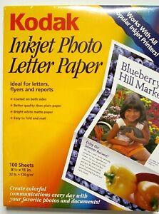 Kodak Inkjet Photo Letter Paper 100 Sheets 8 1/2 x 11 NIP New Sealed # 897 1368