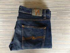 Nudie Lean Dean Tapered Fit Slim Leg Opening Comfort Stretch Blue Jeans W34 L30