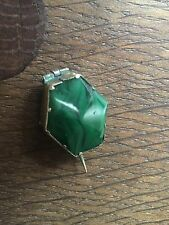 GORGEOUS Early  Unique Antique Victorian Faceted MALACHITE Brooch Pin