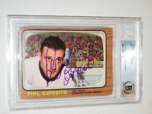 PHIL ESPOSITO Signed 1966-67 TOPPS Card #63 Beckett Authenticated