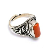 Vintage Tibetan Coral Stone 925 Sterling Silver Adjustable Ring Fine Jewelry