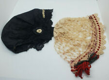 2pc Antique Lot Mourning/Day Caps Silk Taffetta & Hand Tatted Hats