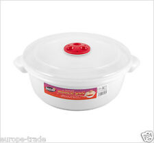 Microwave Pot Tub Round 2 Litre Bowl White with Vented Clear Lid Dishwasher safe