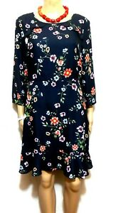 Portmans frill dress, dark blue floral, sz. 12 NWOT