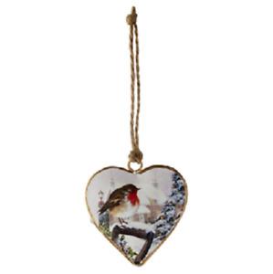 Winter Robin Christmas Traditional Metal Heart Hanging Tree Decoration 5.5x5.5cm