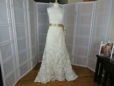 wedding dress size 12 color ivory over light gold corset  Maggi Sottero