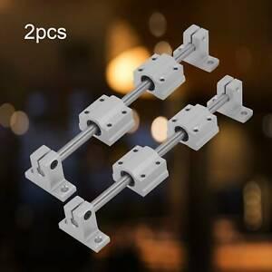 2Pcs 200-400mm Fully Supported Linear Rails Shaft Rod+ 4Pcs SCS8UU Bearing Block