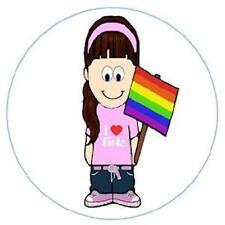 Large Gay Pride I Love Girls Metal Button Pin Rainbow Lesbian SALE